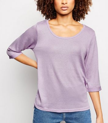 Lilac 3/4 Roll Sleeve Fine Knit Top