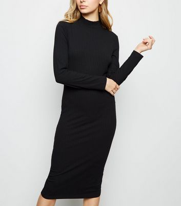 Black Ribbed High Neck Midi Dress
