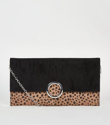 Brown Animal Print Ring Front Clutch