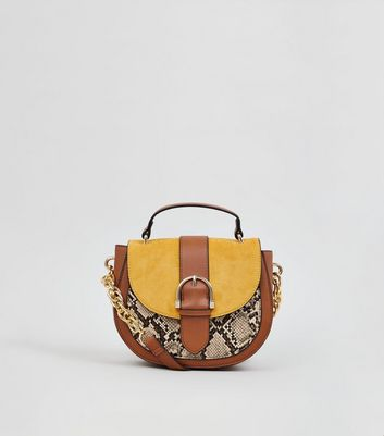 Tan Faux Snake Colour Block Saddle Bag