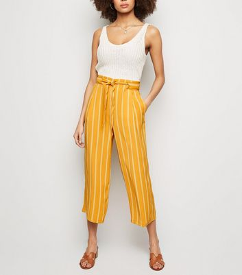 Mustard Stripe Crop Trousers