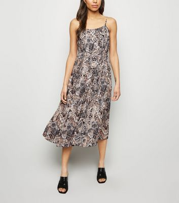 Brown Snake Print Pleated Midi Dress