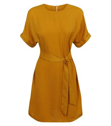 Click to view product details and reviews for Mustard Herringbone Tie Waist Tunic Dress New Look.