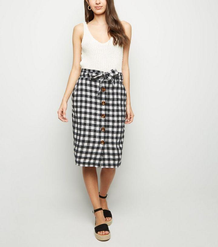 a23c2ec7f408e4 Black Gingham Linen Blend Midi Skirt | New Look