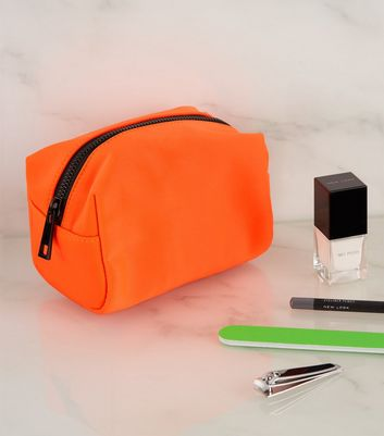 Bright Orange Neon Make-Up Bag