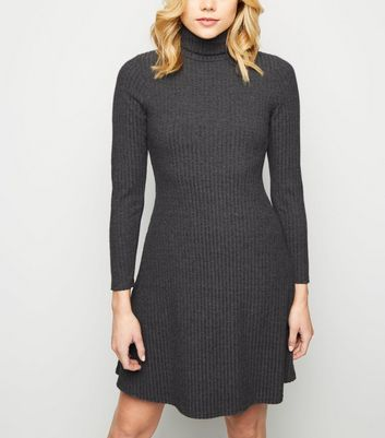Grey Brushed Rib Roll Neck Skater Dress