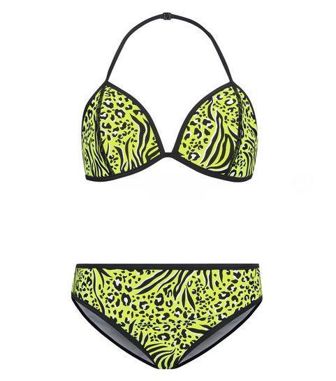5da2ef9666 ... Girls Yellow Neon Animal Print Bikini Set ...