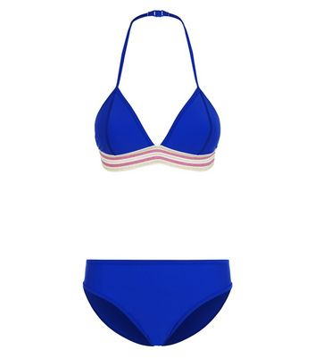 Girls Bright Blue Colour Block Stripe Bikini Set