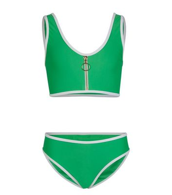 Girls Green Neon Zip Crop Bikini Set
