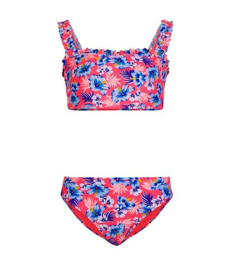 94ddd3b6f0 ... Girls Pink Neon Floral Frill Bikini Set ...