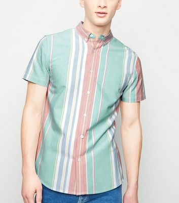 Mint Green Multi Stripe Short Sleeve Shirt