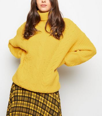 Yellow Roll Neck Cable Knit Jumper