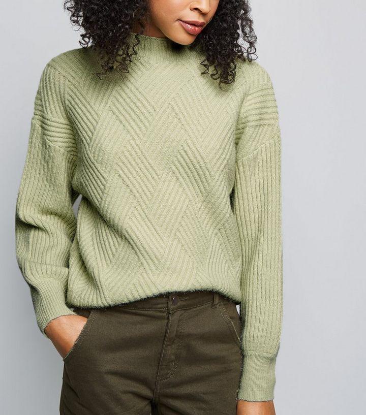 10875ba68cf3d5 Mint Green Diamond Knit Jumper | New Look