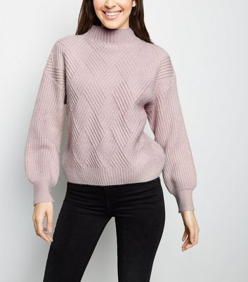 Pale Pink Diamond Knit Jumper