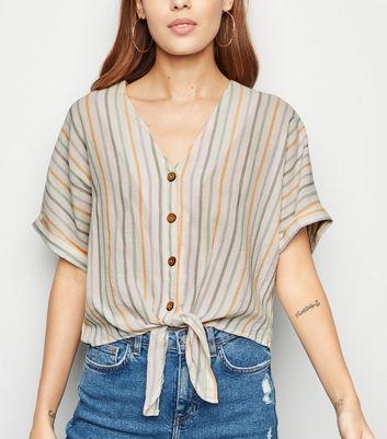 White Multi Stripe Tie Front Shirt