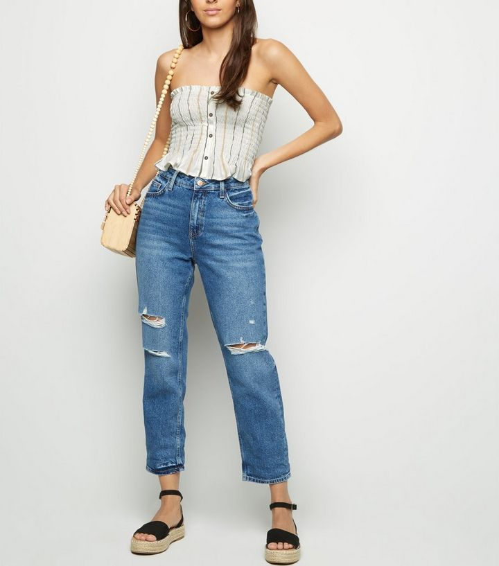 a2e64339f0a ... Women's Tops · White Stripe Button Front Shirred Bandeau Top. ×. ×. ×.  Shop the look