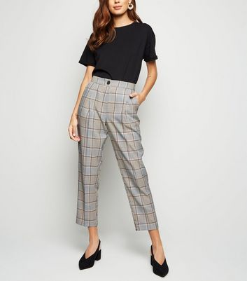 Brown Check High Waist Trousers