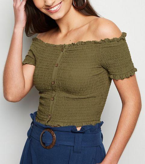9a3def5485 ... Khaki Shirred Button Front Bardot Top ...