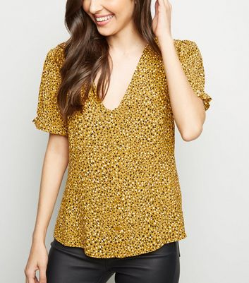 Mustard Abstract Spot Button Front Blouse