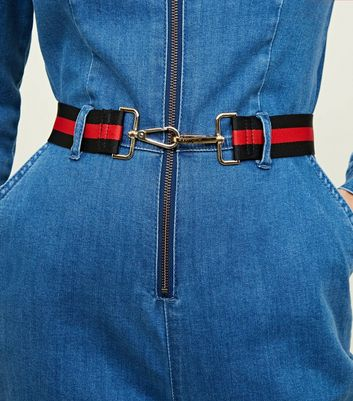 Red Stripe Clasp Buckle Belt by New Look