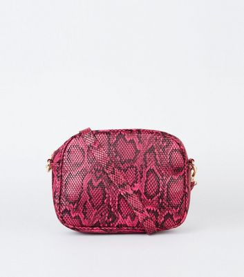 Pink Faux Snake Zip Top Camera Bag