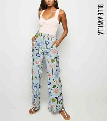 Blue Vanilla Pale Blue Floral Button Side Trousers