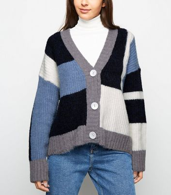 Blue Patchwork Knit Long Sleeve Cardigan