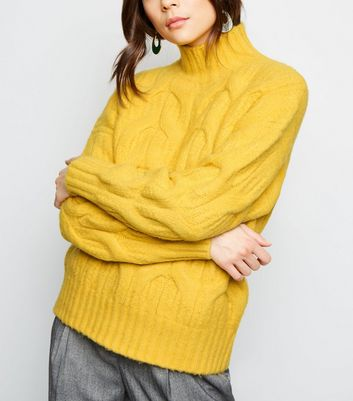 Yellow Funnel Neck Cable Knit Jumper