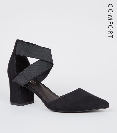 84b223db32420 ... Black Comfort Flex Elastic Strap Courts ...