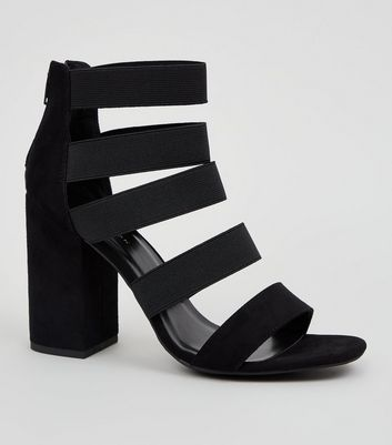 Black Suedette Elasticated Strap Heels