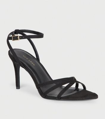 Black Suedette Strappy Pointed Toe Sandals