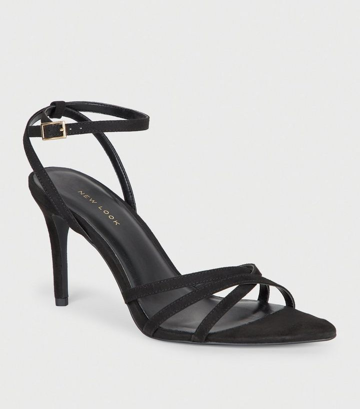 8b189b0a1b7d Black Suedette Strappy Pointed Toe Sandals