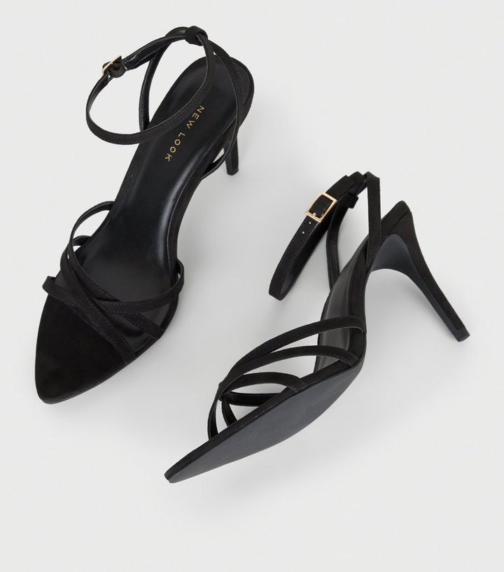20ac74e4ddd6 ... Black Suedette Strappy Pointed Toe Sandals. ×. ×. ×. Shop the look