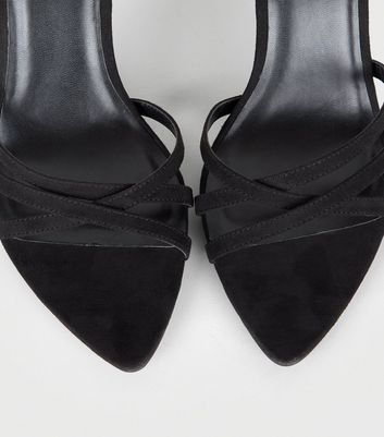 Black Suedette Strappy Pointed Toe