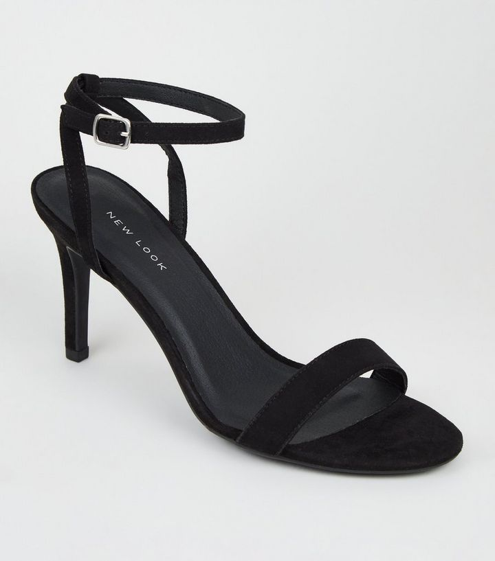5d4692874cf Black Suedette Ankle Strap Stiletto Heels | New Look