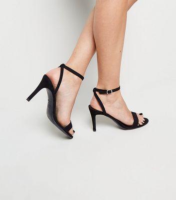 Black Suedette Ankle Strap Stiletto