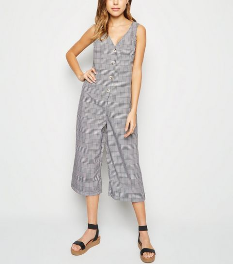 b63dc8e31f5d ... Black Check Button Front Jumpsuit ...