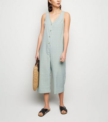 Mint Check Button Up Crop Jumpsuit
