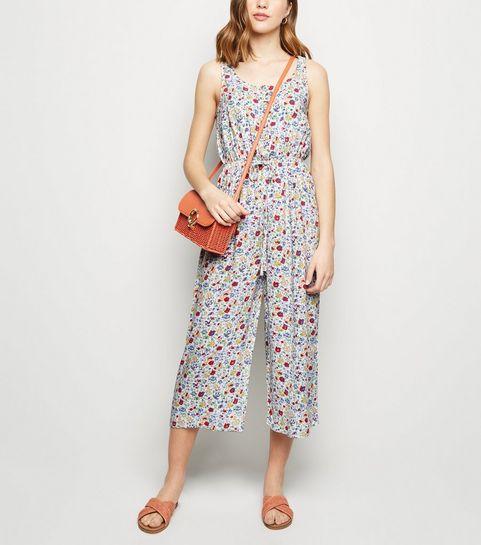 d84f78a3a83 ... White Floral Tie Waist Crop Jumpsuit ...