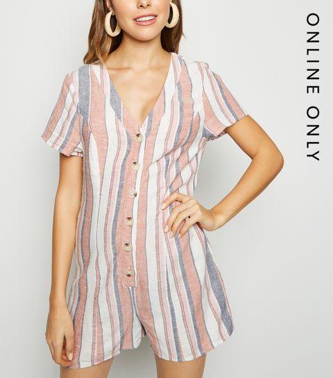 5c37d8a746 ... White Stripe Linen Blend Button Up Playsuit ...
