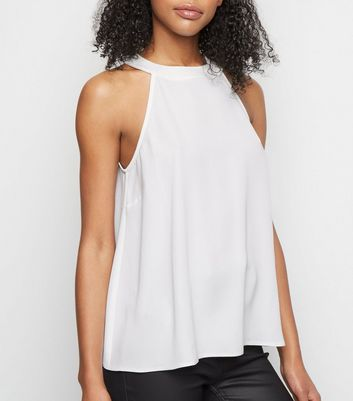 Off White Halter Neck Top