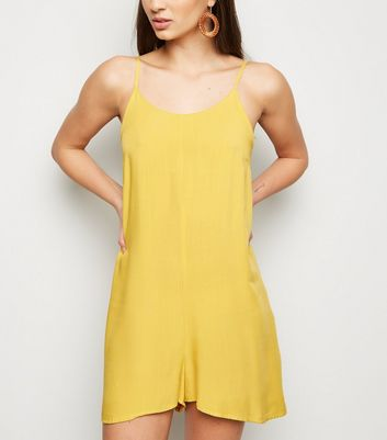 Yellow Strappy Woven Playsuit