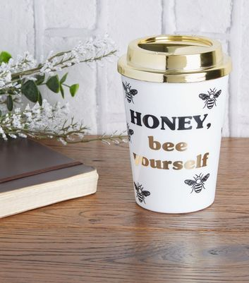 Gold Honey Bee Slogan Travel Mug