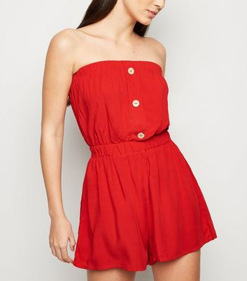 Red Bandeau Button Front Playsuit