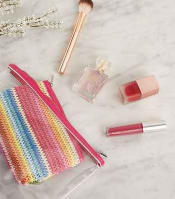 2 Pack Rainbow Woven and Clear Make-Up Bags