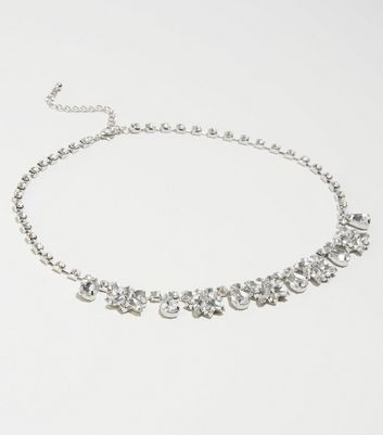 Silver Gem Embellished Necklace by New Look