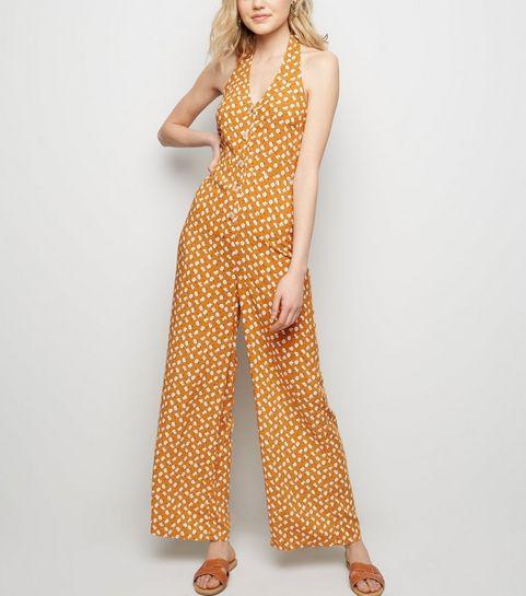 89bce7f0bbd ... Yellow Floral Wide Leg Halter Jumpsuit ...