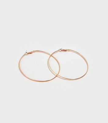 Rose Gold Skinny Oversized Hoop Earrings