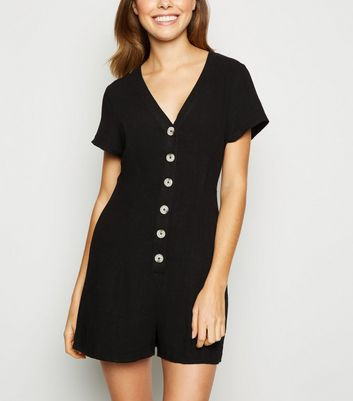 Black Linen Look Button Up Playsuit