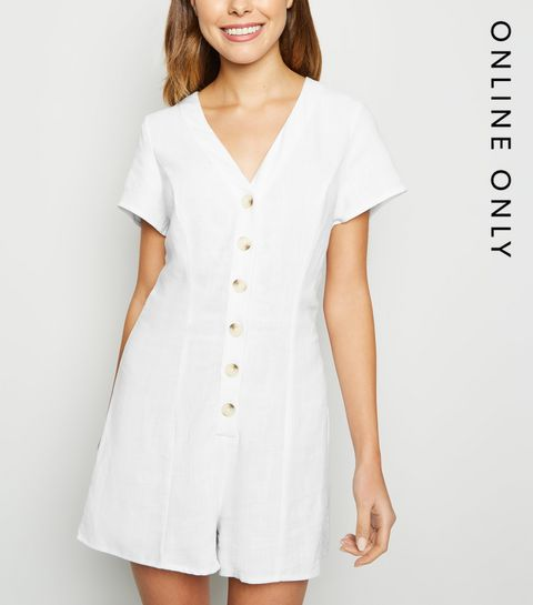 10f4c00f5a ... White Linen Look Button Up Playsuit ...
